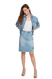 Юбка джинсовая с вышивкой Miss Sixty