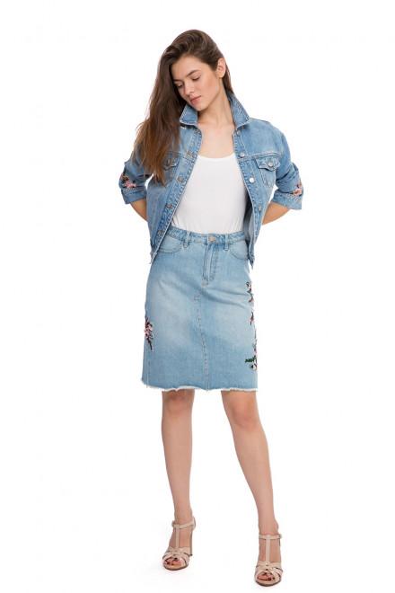 Юбка женская джинсовая с цветочной вышивкой Miss Sixty