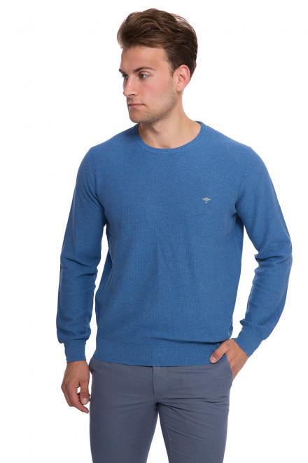 Пуловер мужской синего цвета с круглым вырезом и символикой Fynch-Hatton