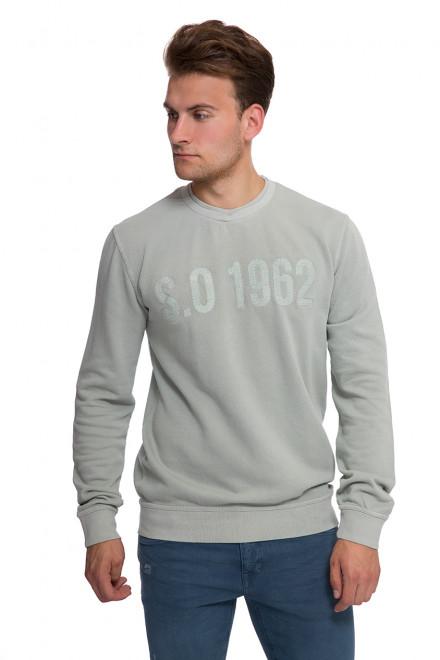 Пуловер мужской (свитшот)  светло-серый с символикой бренда Shine Original