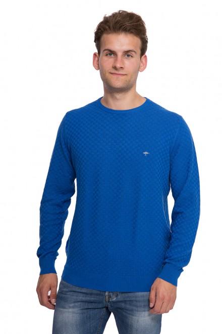 Пуловер мужской синий с круглым вырезом принт шахматка и логотип Fynch-Hatton