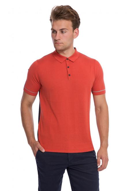Футболка-поло мужская оранжевого цвета с синей вставкой на спине Pal Zileri Lab
