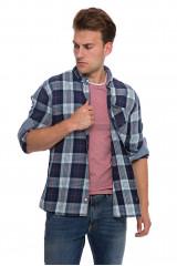 Рубашка мужская синего цвета в крупную клетку Lindbergh