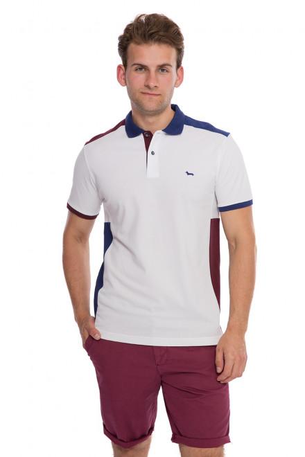 Футболка-поло мужское белого цвета с синими и бордовыми вставками Harmont&Blaine