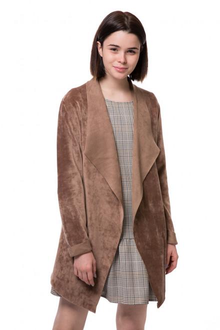 Пиджак женский без застежки светло-коричневого цвета Rich&Royal