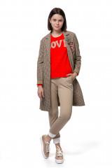 """Пуловер женский свободного кроя красного цвета с надписью """"Love"""" Rich&Royal"""