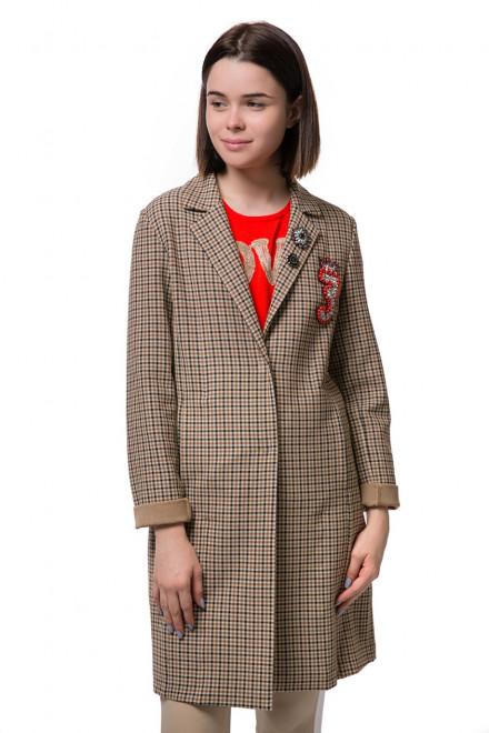 Пальто женское однобортное бежевое в клетку Rich&Royal