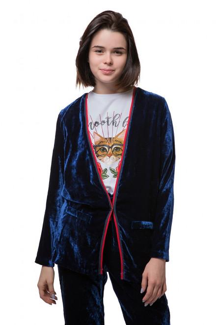 Пиджак женский синий свободного фасона Косса