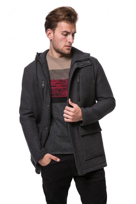 Куртка мужская темно-серая с капюшоном и накладными карманами на молнии Antony Morato