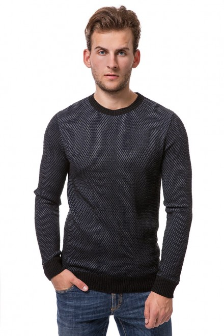Пуловер мужской серого цвета в мелкий рисунок с круглым вырезом Antony Morato