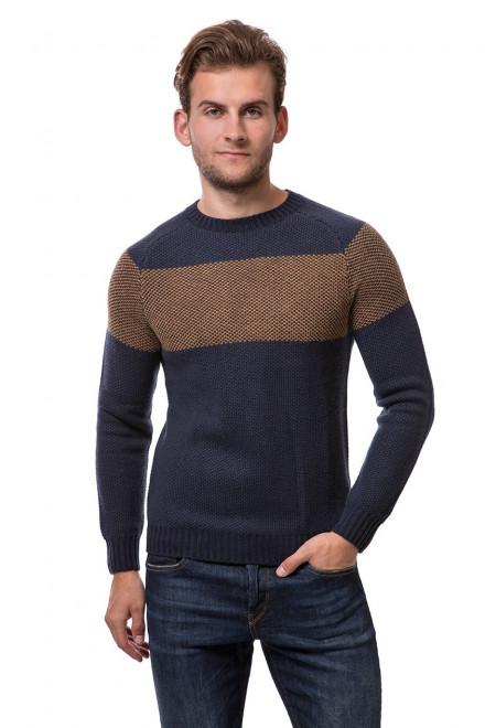 Пуловер мужской синий с коричневыми вставками с круглым вырезом Antony Morato