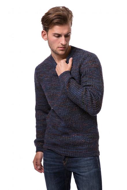 Пуловер мужской синего цвета с бордовым принтом крупной вязки Wool&Co