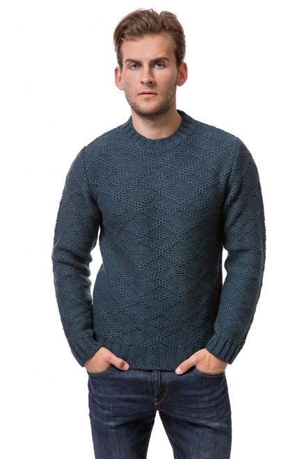 Пуловер мужской зеленого цвета с вязаным рисунком ромбы Wool&Co