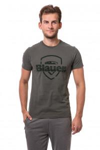 Футболка мужская серая с надписью Blauer.USA