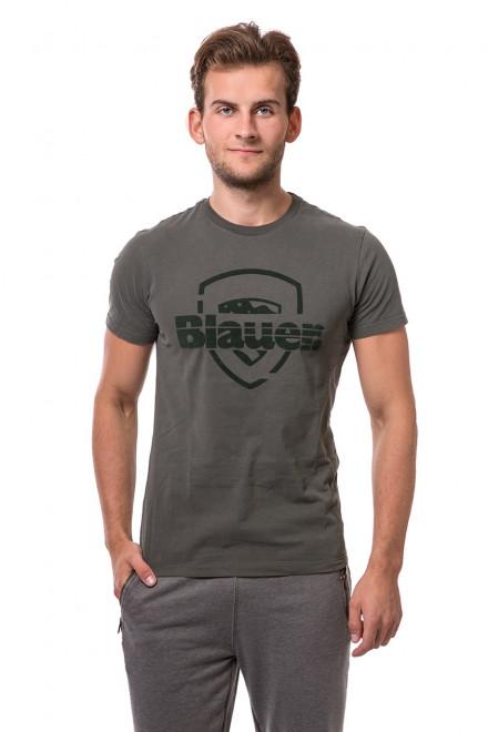 Футболка мужская серая с надписью Blauer USA
