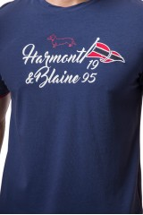 Футболка мужская синяя с надписью Harmont&Blaine