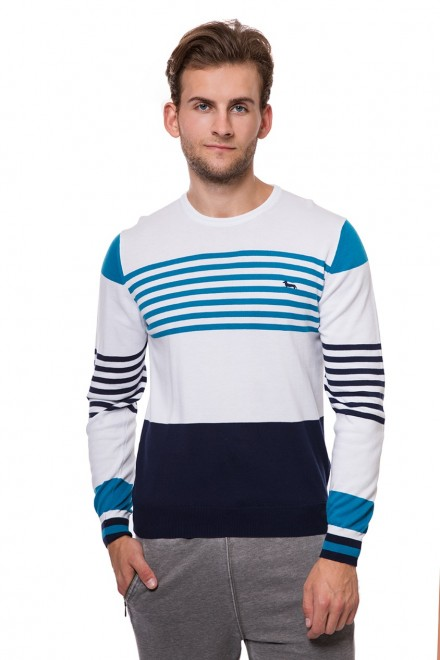 Пуловер белый в голубую полоску с круглым вырезомHarmont&Blaine