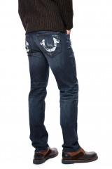 Джинсы мужские синего цвета с икусственными потертостями и заломами True Religion