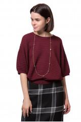 Пуловер женский с четвертным рукавом бордового цвета Weill
