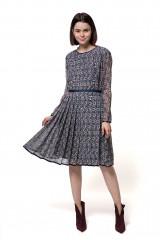 Платье женское c длинным рукавом и плиссированной юбкой синего цвета в цветочный принт Weill
