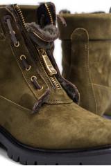 Ботинки женские зеленые на молнии The Seller