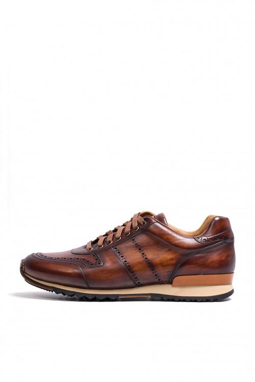 Кроссовки мужские коричневые кожаные Magnanni