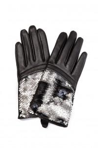 Перчатки женские черные кожаные с пайетками Otto Kessler