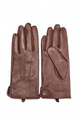 Перчатки женские кожаные коричневого цвета с закругленными краями Otto Kessler