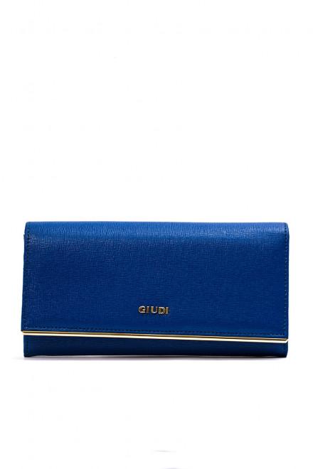 Кошелек женский синего цвета с золотой фурнитурой Giudi