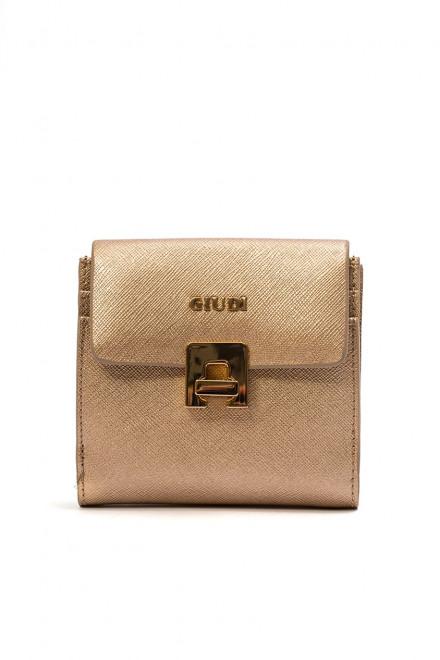 Кошелек женский кожаный золотой металлик с логотипом бренда Giudi
