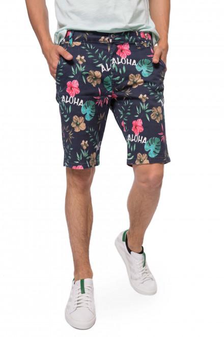 """Шорты мужские темно-синего цвета в растительный принт и с надписью """"Aloha"""" от Shine Original"""