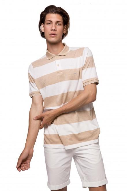 Футболка-поло белая в светло-коричневую полоску Fynch Hatton
