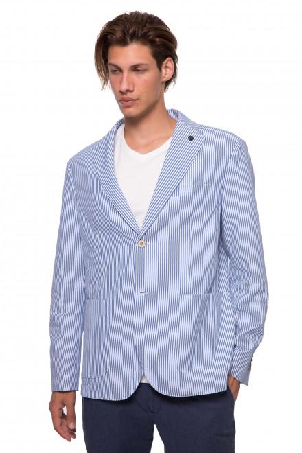 Пиджак мужской однобортный синего в мелкую клетку Pal Zileri