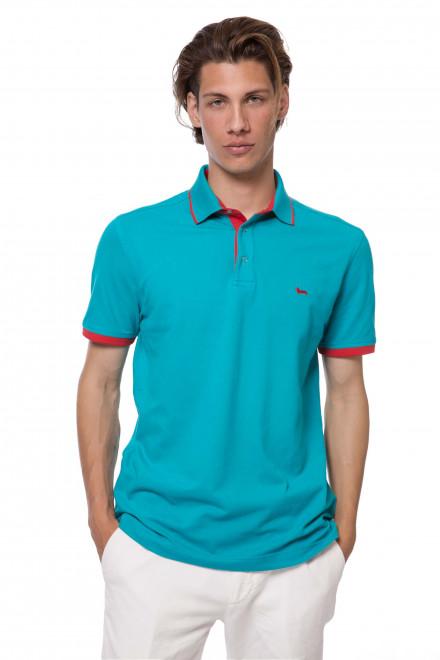 Футболка-поло мужская бирюзового цвета с логотипом Harmont & Blaine