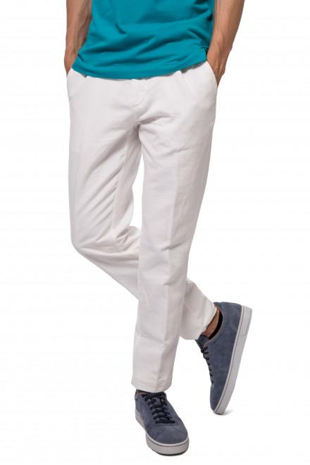 Штаны мужские белого цвета прямого кроя Harmont & Blaine