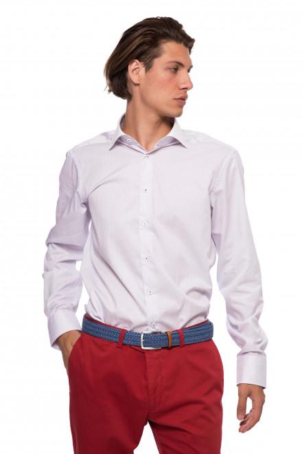 Мужская рубашка белого цвета в голубую полоску с длинным рукавом van Laack