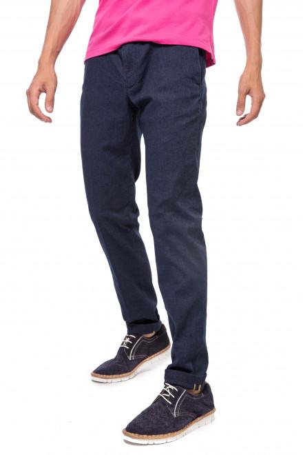Штаны мужские синего цвета прямого кроя Alberto
