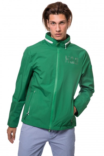 Куртка мужская зеленого цвета с капюшоном и на молнии Harmont & Blaine