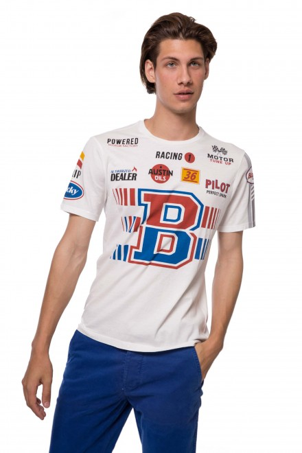 Футболка мужская белого цвета с символикой бренда Blauer