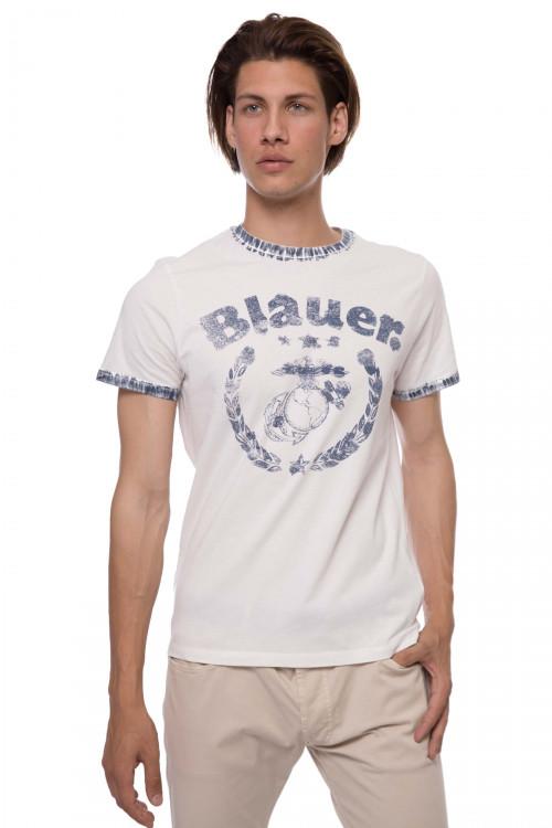 Футболка мужская белого цвета с круглым вырезом и символикой Blauer