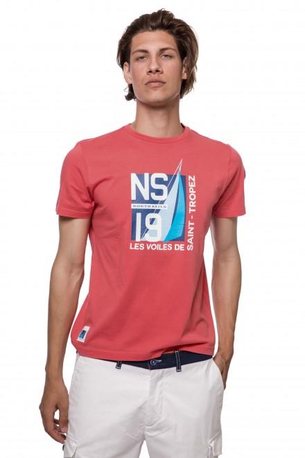 Футболка мужская кораллового цвета с символикой бренда North sails