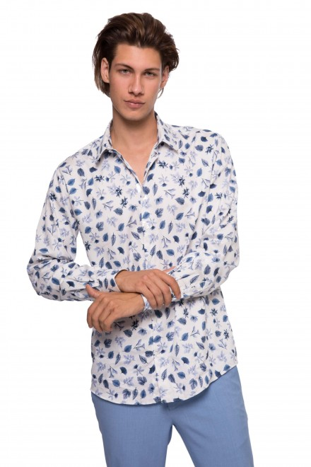 Рубашка мужская белого цвета в голубой принт Lindbergh