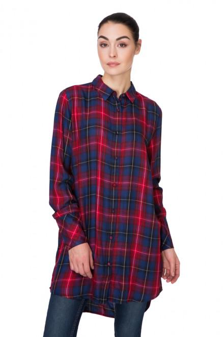 Рубашка женская длинная красная в клетку B.young