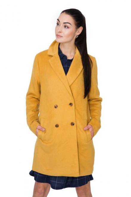 Пальто двубортное на 4 пуговицы желтое Blend she