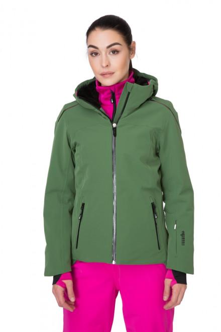 Куртка женская лыжная с капюшоном на молнии зеленая Zero rh+