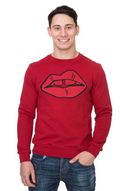 Пуловер мужской красный с ярким принтом Antony Morato