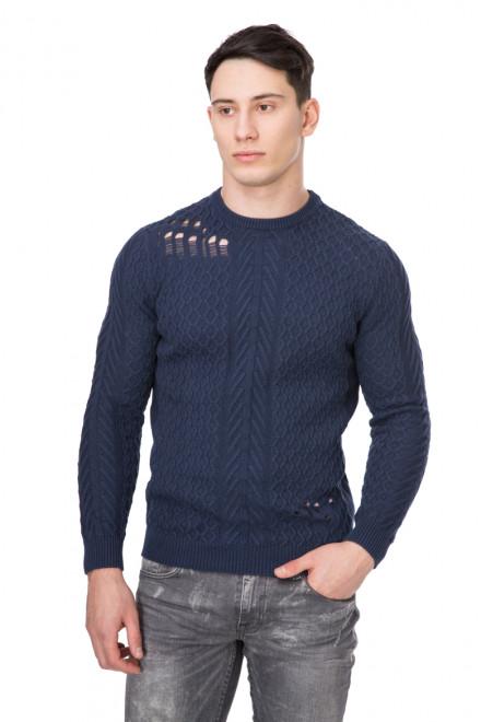 Пуловер мужской со спущенными петлями синий Antony Morato