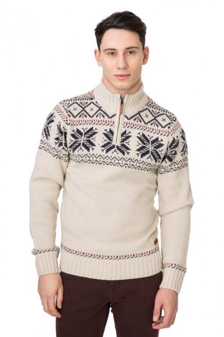 Пуловер мужской тройер белый с принтом Blend