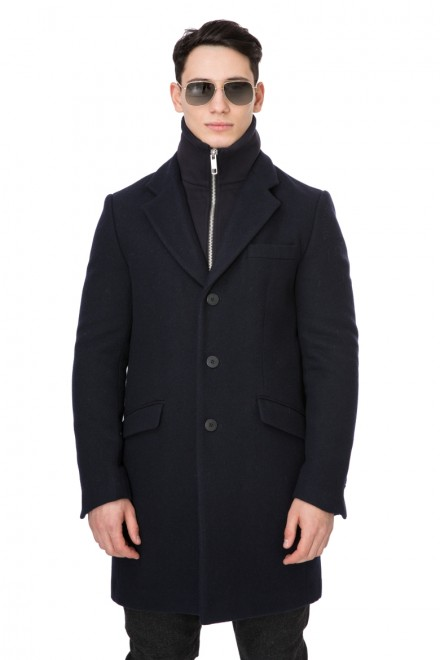 Пальто мужское однобортное укороченное черное Antony Morato