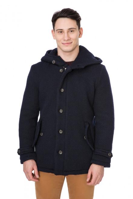 Пальто мужское с капюшоном короткое синее Wool & Co